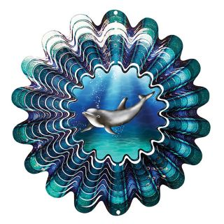 Iron Stop Animated Dolphin Wind Spinner   DA160 10   Wind Spinners