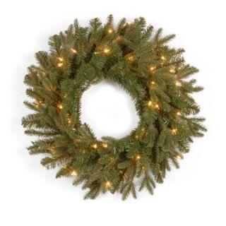 24 in. Feel Real Tiffany Fir Pre Lit Christmas Wreath   Christmas Wreaths