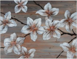 Yosemite Home Decor Wooden Blossom II Wall Art   40W x 30H in.   Hand Painted Art