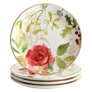 Paula Deen Signature Dinnerware Holiday Floral 4 Piece Salad Plate Set   Salad & Dessert Plates