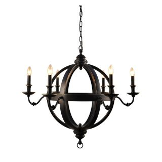 Yosemite Home Decor Ponderosa 6 Light Mini Chandelier   35.4W in.   Black   Chandeliers