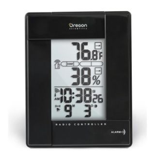 Oregon Scientific Indoor/Outdoor Thermometer with Self Setting Atomic Clock   Black   Thermometers