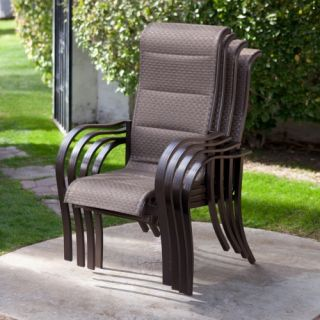 Coral Coast Del Rey Deluxe Padded Sling Dining Chair   Set of 4   Outdoor Dining