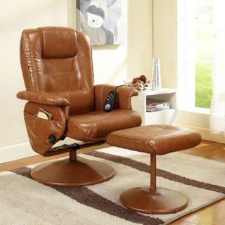 InRoom Designs Massage Reclining Swivel Chair with Ottoman   Light Brown   Leather Recliners
