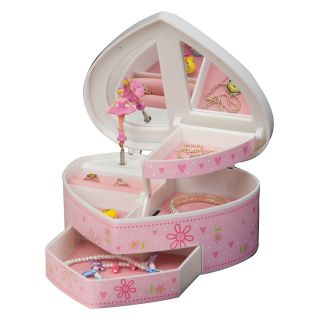 Mele Ruby Glitter Daisy Heart Shaped Musical Dancing Ballerina Jewelry Box   7.5W x 3H in.   Girls Jewelry Boxes