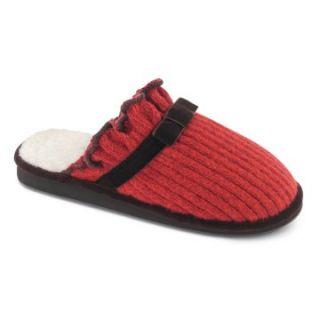 Acorn Ragg Time Womens Ruffle Scuff Slipper   Red Ragg Wool   Womens Slippers