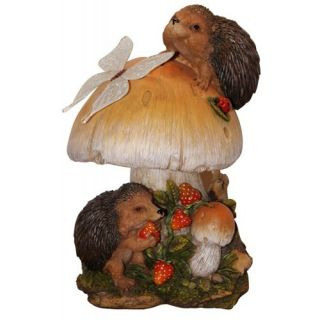 Henry Hedgehog And Mushroom Cast Resin Garden Statue   Garden Statues