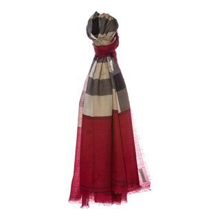 Burberry Ruby Red Contrast Border Check Cashmere Scarf Burberry Designer Scarves & Wraps