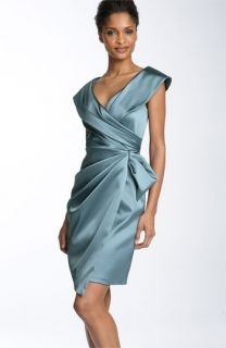 Kay Unger Silk Satin Faux Wrap Dress & Accessories