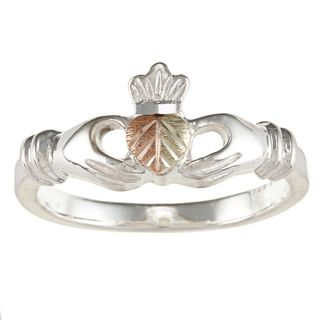 Black Hills Gold and Sterling Silver Claddagh Ring Black Hills Gold Black Hills Gold Rings