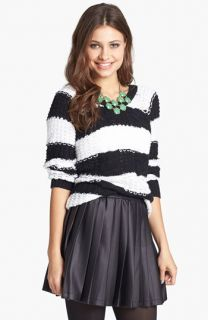 Mimi Chica Faux Leather Skater Skirt (Juniors)