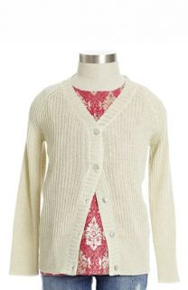 Peek Evelyn Metallic V Neck Cardigan (Toddler Girls, Little Girls & Big Girls)