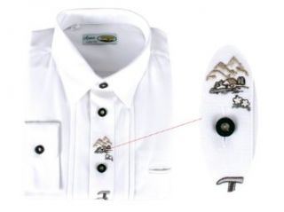 Anna Collection Herren Trachtenhemd mit Kurzarm   Weiss, Groesse XXL Bekleidung