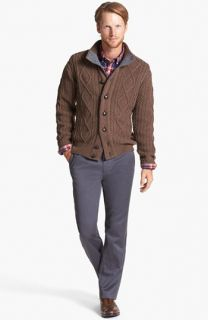 Barbour Cable Knit Button Sweater & Bonobos Straight Leg Chinos