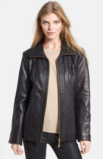 Ellen Tracy Quilt Trim Leather Jacket