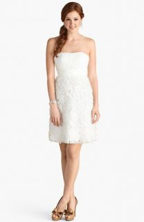 Donna Morgan Giuliana Rosette Detail Strapless Chiffon Dress (Online Only)
