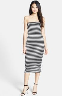 Nicole Miller Stripe Strapless Ponte Knit Body Con Dress