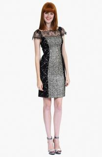Kay Unger Mixed Lace & Knit Panel Sheath Dress