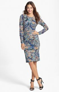 Nicole Miller Print Jersey Body Con Dress