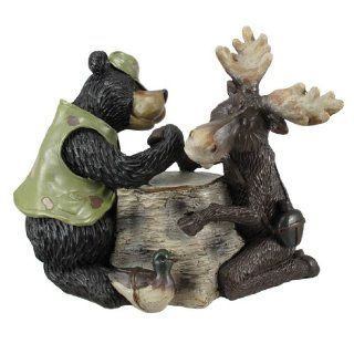 Funny Arm Wrestling Bear And Moose Statue Hunting