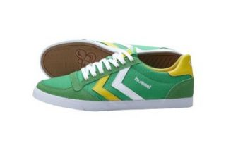 hummel SLIMMER STADIL LOW CANVAS 63 112 6467, Unisex   Erwachsene Sneaker, Gr�n (Fern Green/Daffodil Yellow/White), EU 36: Schuhe & Handtaschen