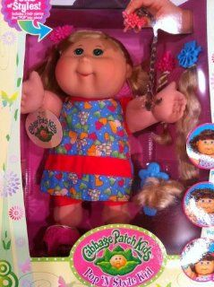Pop 'N Style Cabbage Patch Kids Doll   Blonde Hair & Green Eyes in Blue Heart Outfit: Toys & Games