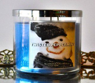 Slatkin & Co.   Twisted Peppermint   3 Wick Fragrance Candle 14.5 Oz.   Scented Candles