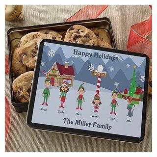 Family Character Personalized Holiday Cookie Tin   Cookie Jars