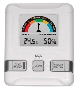 Thermor Bios Indoor Hygrometer with Bios Comfort Scale (White, 4.5 Inch x 7.25 Inch x 1.25 Inch): Sports & Outdoors