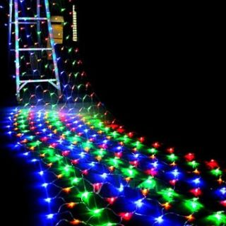 Jonkey 2m*2m 196 Led Net Fairy String Lights For Xmas Party Wedding Outdoor Decoration 220V Multicolor   Led Household Light Bulbs