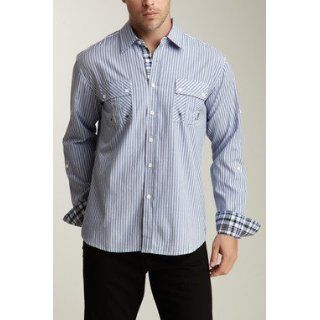 191 Unlimited 'Ethan' Blue Striped Slim Fit Shirt: Clothing