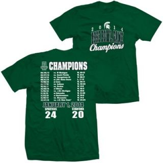 Michigan State Spartans Youth 2014 Rose Bowl Champions Score T Shirt   Green