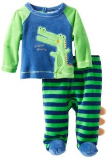 ABSORBA Baby Boys Newborn B V Dinosaur Footed Pant, Green/Blue, 3 6 Months: Clothing