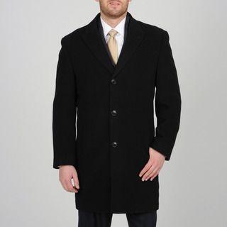 Alfani   Abrigo tres cuartos de hombre, lana y cachemira, con botones al frente,  negro Alfani Coats