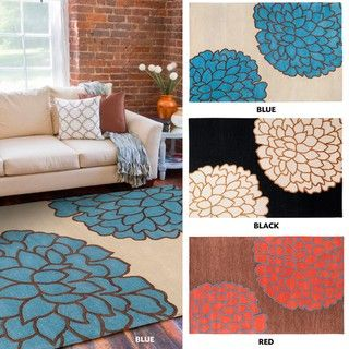 Hand tufted Contemporary /Blue Glacier New Zealand Wool Abstract Rug (8' x 11') 7x9   10x14 Rugs