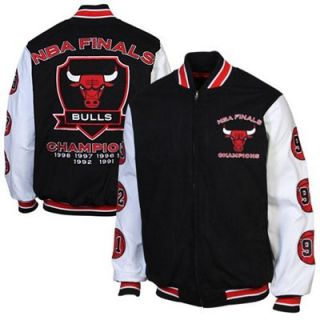 Chicago Bulls Canvas NBA Commemorative Jacket   Black
