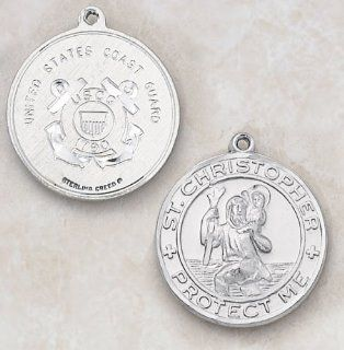 "Sterling Silver St. Christopher Coast Guard Medal   1"" Dia, 24"" L Chain. Catholic Saint Christopher Patron Saint of Bookbinders, Epilepsy, Gardeners, Mariners, Pestilence, Thunder storms, Travelers, Travel, Motorists, Truck Drivers, Bus Drivers,"