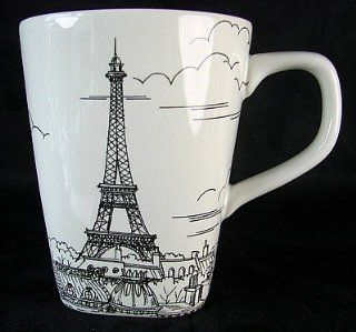 222 Fifth City Scenes Paris Black & White Coffee Mugs, Set of 4, Eiffel Tower: Kitchen & Dining