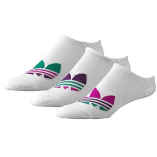 adidas Originals 3 Pack Large Trefoil SL No Show Socks   Womens   Casual   Accessories   White/Vivid Pink/Tribe Purple/Fresh Green