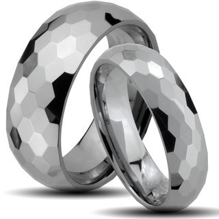 Tungsten Carbide Honeycomb Faceted Design His and Her Wedding Band Set Men's Rings