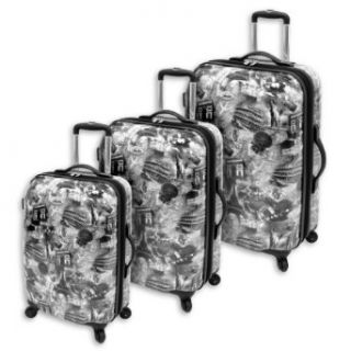 Amelia Earhart Luggage Passport 360 Hardside Collection 3 Piece Set, Black/White Print, One Size Clothing