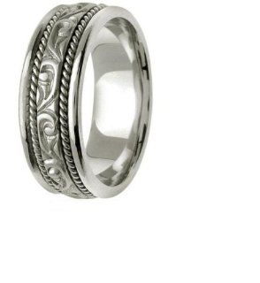 L.A. Wedding 14KLAW234 S3 7mm 14K White Gold Handmade Wedding Band   Size 3: L.A. Wedding: Everything Else