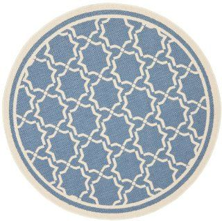 Safavieh CY6916 243 Courtyard Collection Indoor/Outdoor Round Area Rug, 7 Feet 10 Inch in Diameter, Blue and Beige