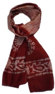 Pure Silk Batik Tie Dye Silk Scarf: Brown and Light Brown: Clothing