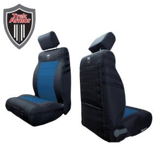 Trek Armor Jeep Seat Covers, Black on Blue Front Bucket Seat Covers for 2011 to 2012 Jeep Wrangler Jk. Pair: Automotive