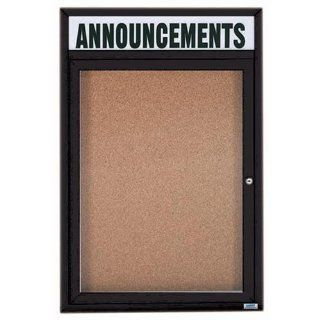 Aarco Products DCC3624RHBK 1 Door Indoor Enclosed Bulletin Board with Header & Black Powder Coated Aluminum Frame 36H x 24W  Enclosed Message Boards