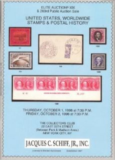 United States, Worldwide Stamps & Postal History (Stamp Auction Catalog) (Jacques C. Schiff, Elite Auction XIX and Sale 263, Oct 1 2, 1998): Jacques C. Schiff: Books