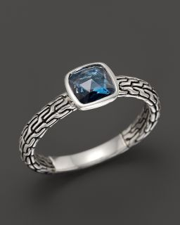 John Hardy Batu Classic Chain Silver Small Square Station Ring with London Blue Topaz's