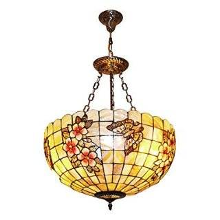 120W Tiffany Pendant Light with Colorful Nature Shell Material Integrated Shade(Chain Adjustable)   Ceiling Pendant Fixtures