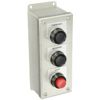 """Siemens 52C301S Heavy Duty Pushbutton Control Station, Water and Oil Tight, 3 Command Points, Flush Black """"FORWARD"""" Labeled Pushbutton, Flush Black """"REVERSE"""" Labeled Pushbutton, Raised Red """"STOP"""" Labeled Pushbutton, Momentary"""